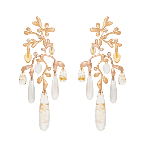 A2659-405 Gipsy Earrings in gold with mixeded stones and diamonds