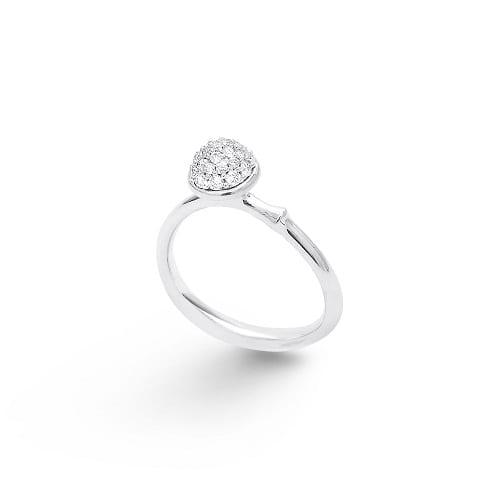 Small pave lotus ring white gold