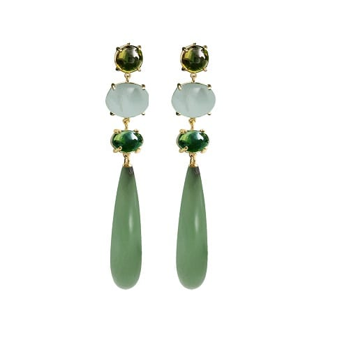 A2906-401 Ole Lynggaard Lotus Earrings Peridot, Light Blue Aquamarine, Green Tourmaline & Serpentine