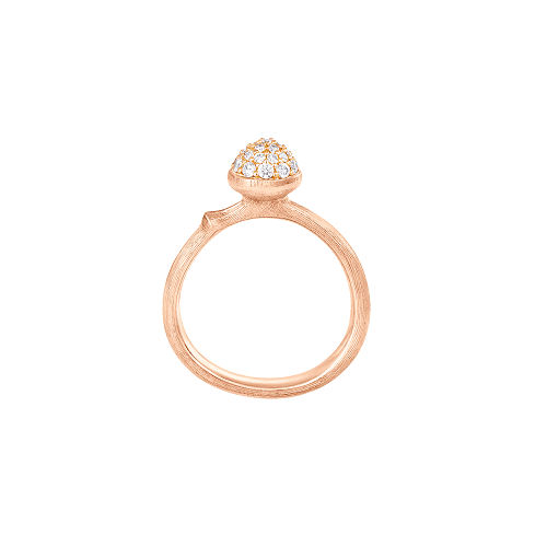 Small pave lotus ring rose gold