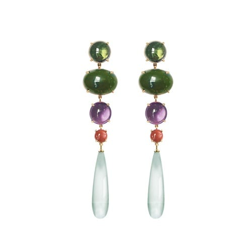 Ole Lynggaard Lotus Earrings Green Tourmaline, Jade, Amethyst, Red Coral & Green Aquamarine