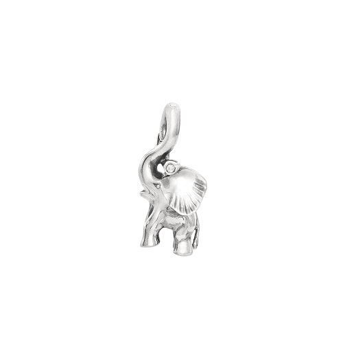 A1383-301 Elephant charm with lock in Sterling silver and diamonds