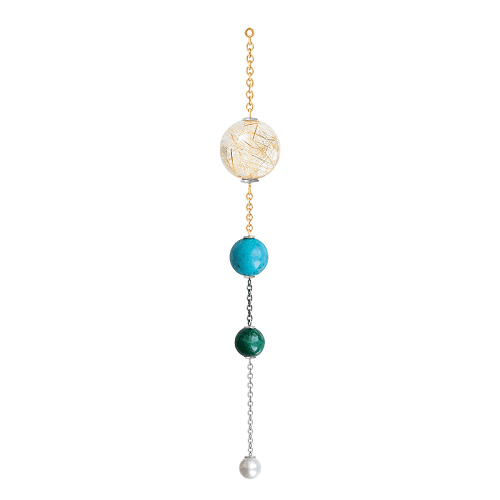 A3036-305 Lotus pendant for earring in gold and silver with mixed stones