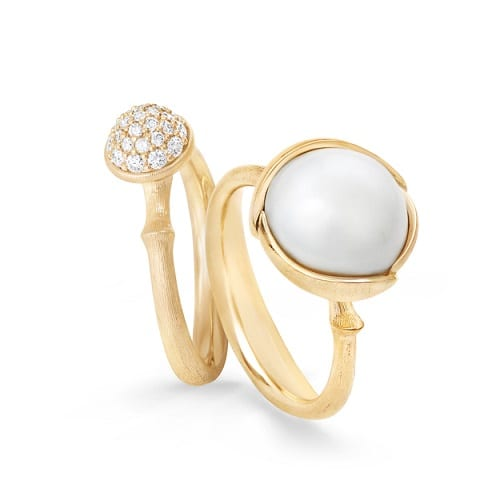 pave lotus ring with pearl