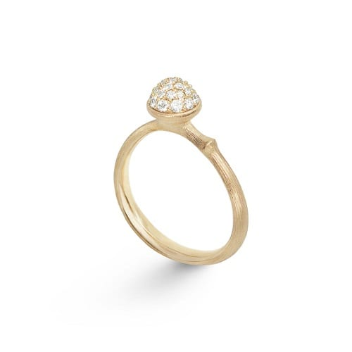 Small pave lotus ring yellow gold