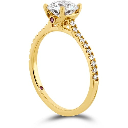 YG Hearts on Fire Sloane Silhouette Engagement Ring with Diamond Band