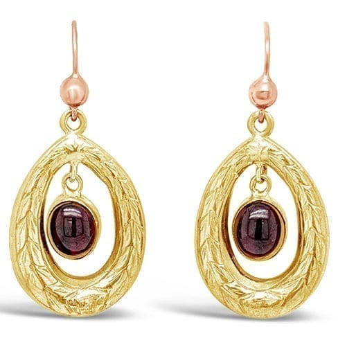 Antique Gold Garnet Drop Earrings Melbourne