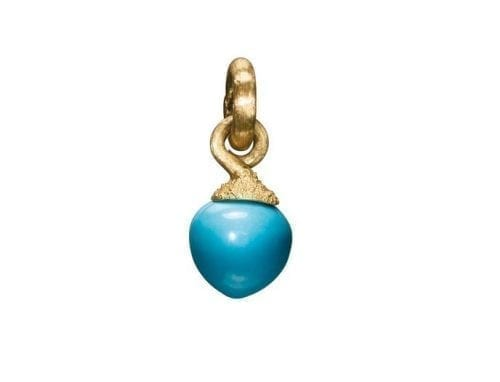Ole Lynggaard Dew Drop Charm Turquoise Yellow Gold A2633-405