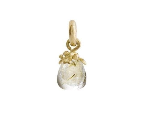 Ole Lynggaard Sweet Drop Charm Rutile Quartz Yellow Gold A2724-411