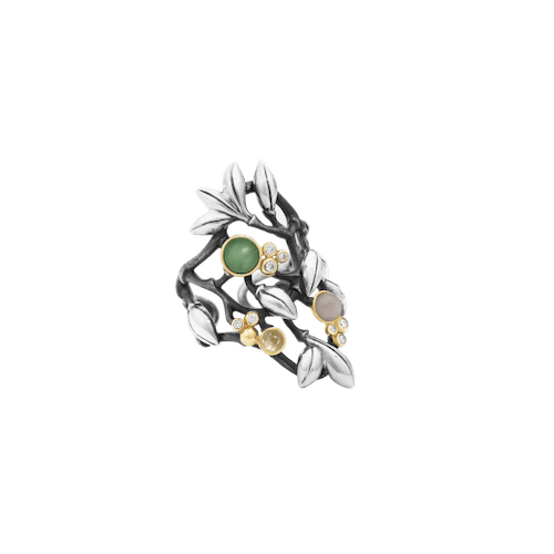 melbourne.jewellery.olelynggaard.silver.forest.ring.sterlingsilver.polished.diamond.mixedstones.yellowgold.gold.greymoonstone.serpentine