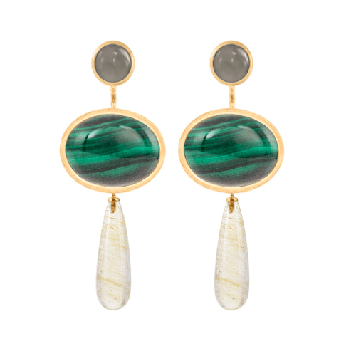 pendantforearrings.18k.melbourne.jewellery.greymoonstone.malachite.earrings.yellowgold.lotus.rutilequartz