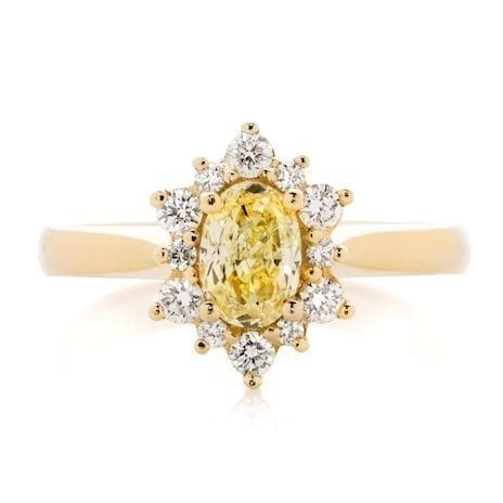 Aurora Goddess Yellow Oval Diamond Engagement Ring Melbourne