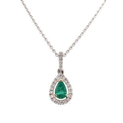 Diamond.emerald.pendant.melbourne.teardrop.pear.whitegold