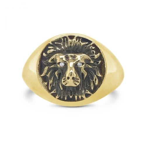 spirit man,signet,ring,courage.lion.yellow.gold
