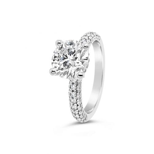 Hearts on Fire Diamond Solitaire Ring Pave Shoulders Side Angle