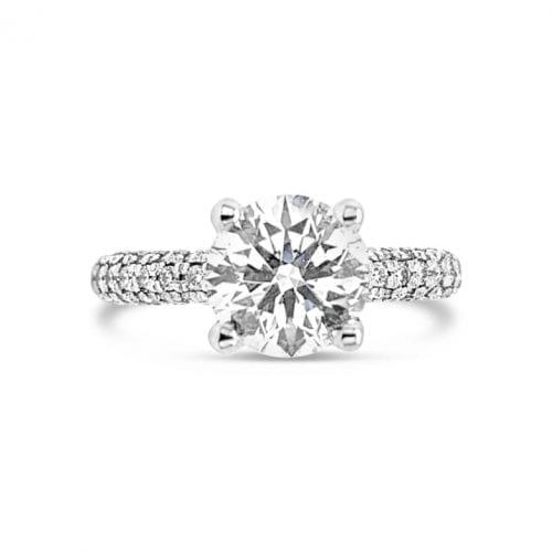 Hearts on Fire Diamond Solitaire Ring Pave Shoulders