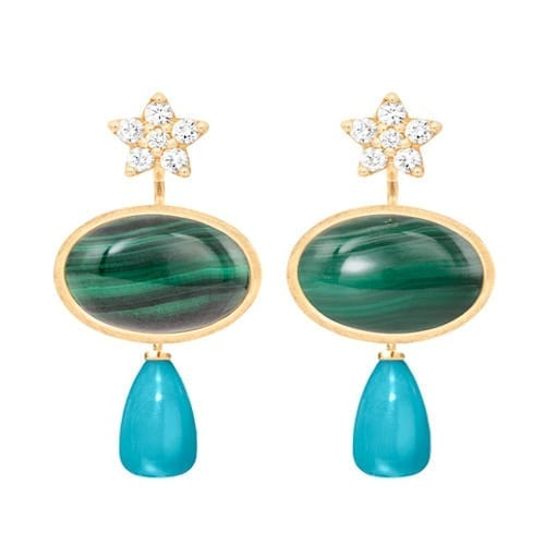 pendantforearrings.18k.melbourne.jewellery.turquoise.diamond.shootingstar.malachite.earrings.yellowgold.lotus