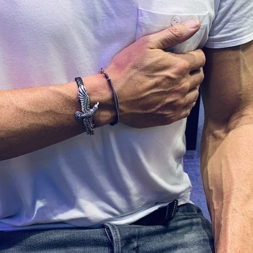 perspective.eagle.cuff.silver.woven.leather.bracelet.man.model