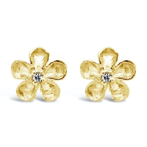 sakura.yellow.gold.diamond.stud earrings