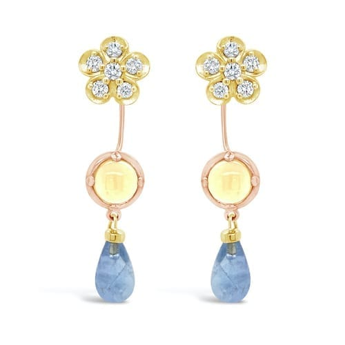 sakura.diamond.cluster.stud.earrings.14ct.yellow.gold.trewarne.signature.collection