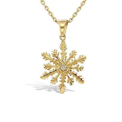 jewellery.necklace.melbourne.trewarne.snowflake.pendant.gold.diamond.yellowgold.winter