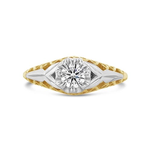 two-tone-filigree-diamond-engagement-ring-melbourne-solitaire-classic-antique-design-arete-goddess