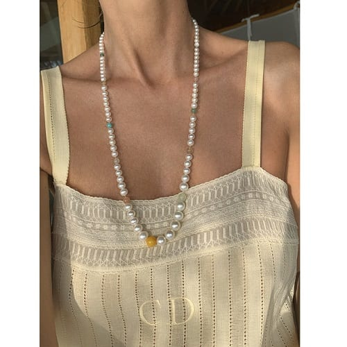 Bead collier in pearl theme 80 cm without clasp