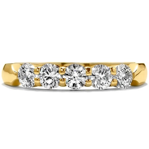Hearts On Fire Five-Stone Wedding Band yellow gold