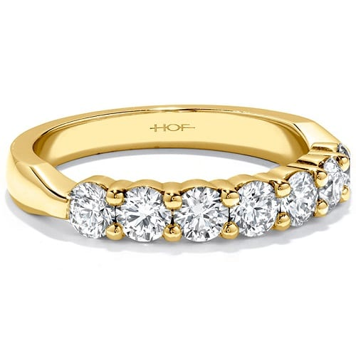 Hearts On Fire seven stone band yellow gold
