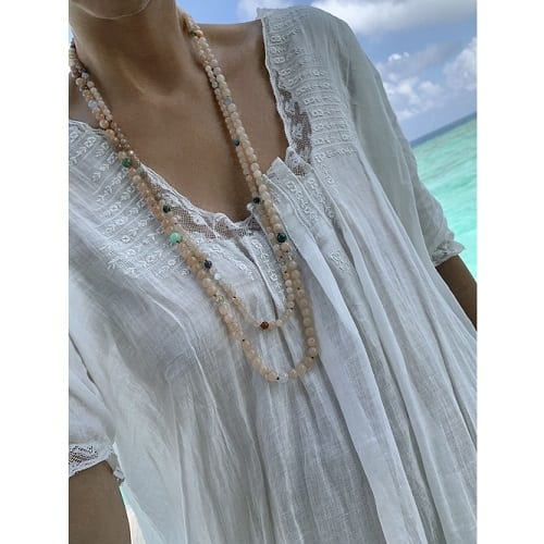 Bead collier in blush theme 80 cm without clasp